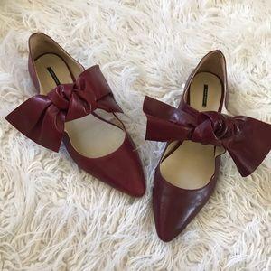 Zara Cranberry Bow Flats
